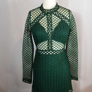 Dresses & Skirts - 🍀Long sleeve Green crochet mesh dress🍀